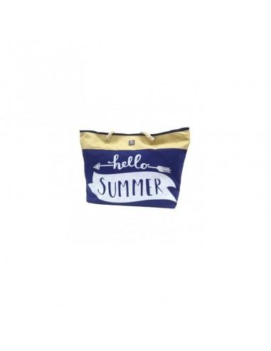 Borsa mare e da piscina AQUA di MARE Blu paglia e tessuto 22437