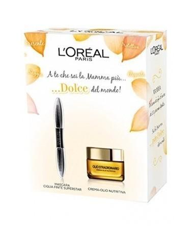 L'Oreal Kit viso Mascara ciglia finte Superstar nero+ crema olio-nutritiva 50ml
