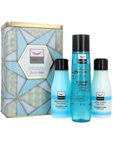 Confezione Aquolina Origami Zucchero a Velo 125 ml acqua profumata + 125 ml latte corpo + 125 ml bagno doccia